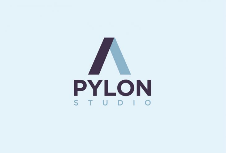 pylon geometric vector two-tone logo design