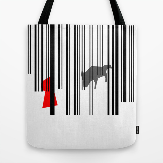 out of the woods little red riding hood minimal illustration tote bag