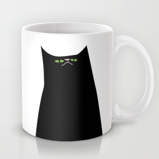 feed me cat illustration mug
