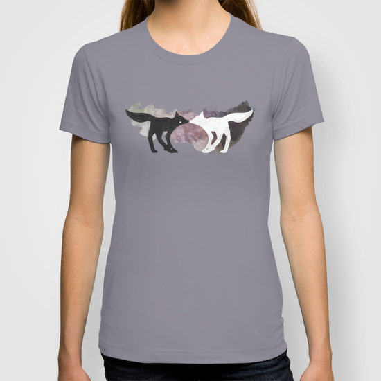 foxes in the forest artwork on t-shirt