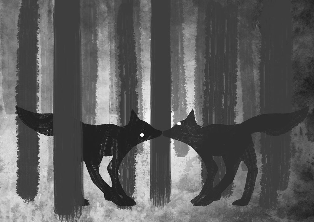 foxes in the forest digital artwork illustration