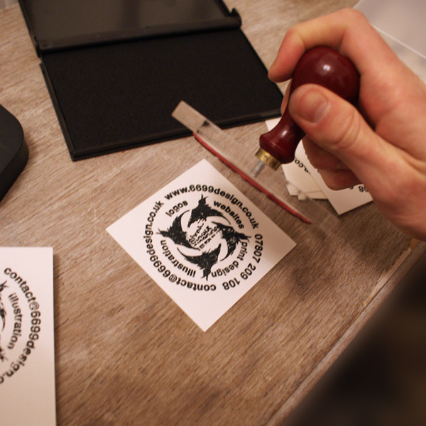 logo on custom rubber stamp