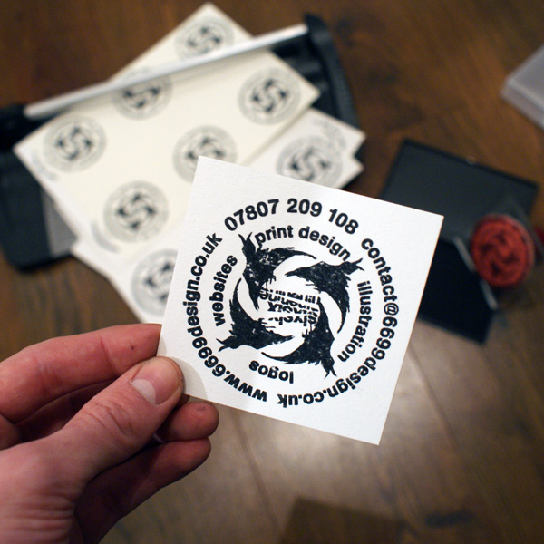 custom hand stamped business card