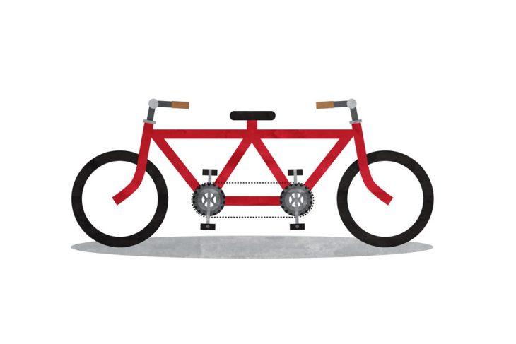 teamwork tandem bicycle illustration