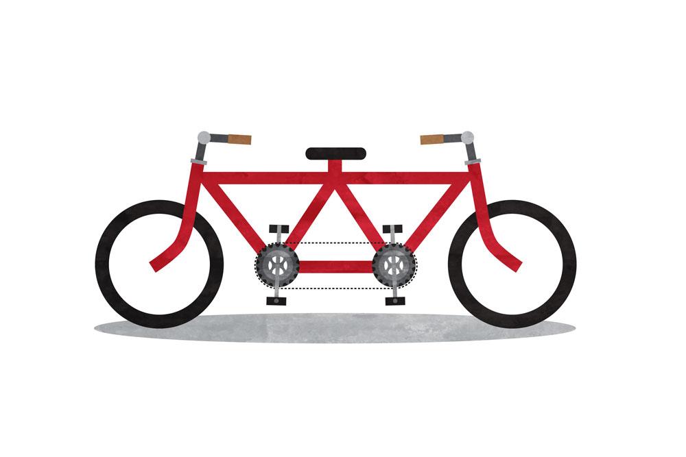 teamwork tandem bicycle illustration