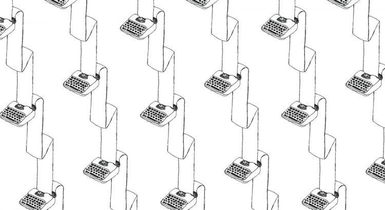 typewriter illustration repeat pattern