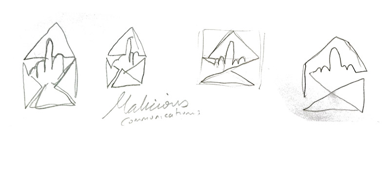 malicious communications logo sketches