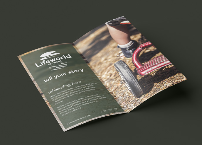 lifeworld services leaflet design mockup