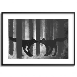 foxes in the forest digital painting print