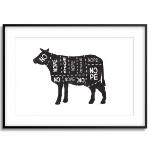 no vegan cow illustration print