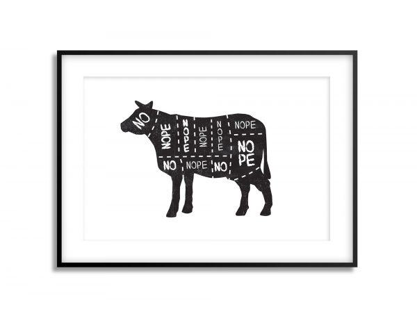 no vegan cow illustration print