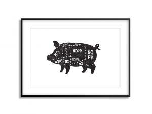 no vegan pig illustration print