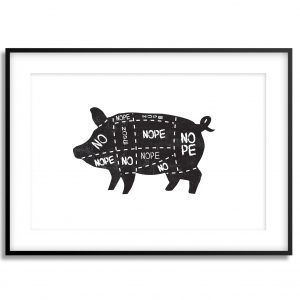 no vegan pig illustration print