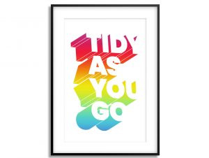 tidy as you go typographic print