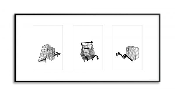 submerged shopping trollies art print tryptich